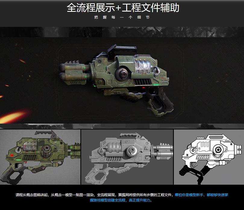 《异星战枪》写实3D游戏模型制作全流程教程亮点之全流程展示+工程文件辅助