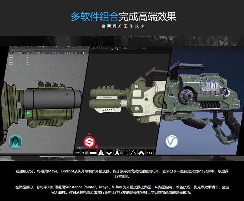 《异星战枪》写实3D游戏模型制作全流程教程亮点之多软件组合完成高端效果