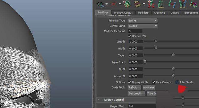 Maya的xGen制作逼真的毛发之关掉了tube shading
