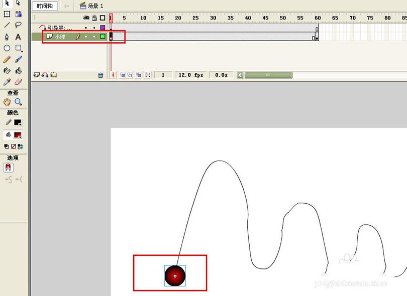 Flash制作跳动的小球循环动画的具体步骤之选择小球元件图层第一帧