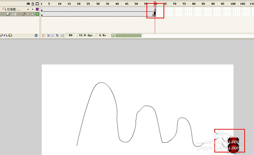 Flash制作跳动的小球循环动画的具体步骤之选择小球元件第60帧