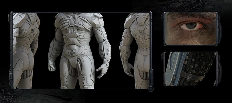 高精度硬表面影视角色《钢骨》全流程中文教程优势之囊括硬表面雕刻与写实人头制作细节
