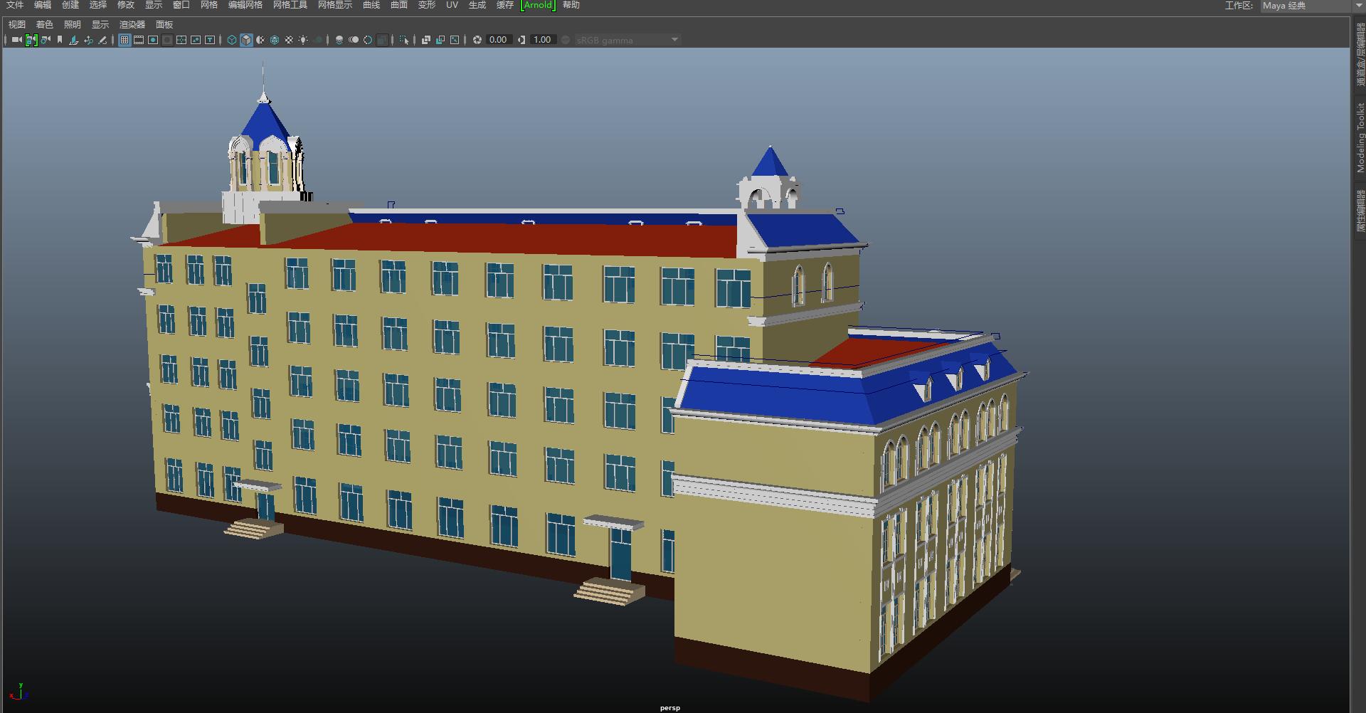 模型素材下载 maya欧式别墅模型  【模型介绍】:欧式别墅房子.