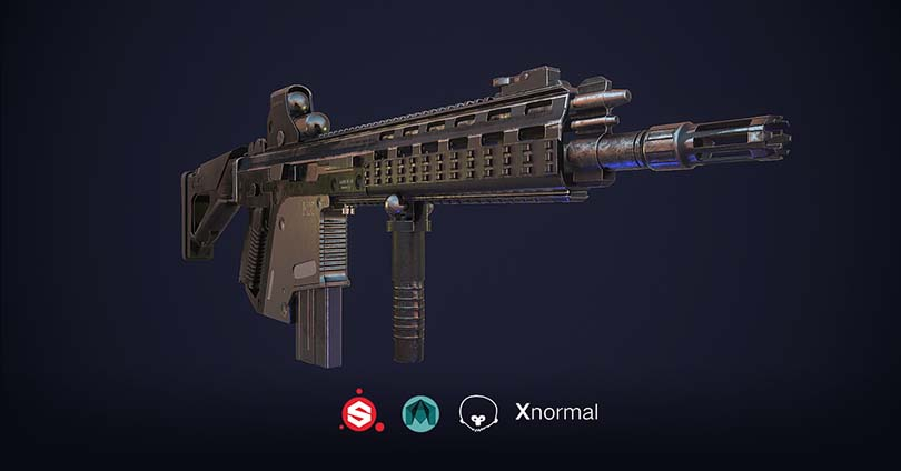 次世代游戏道具模型制作之G56突击步枪实战教程介绍