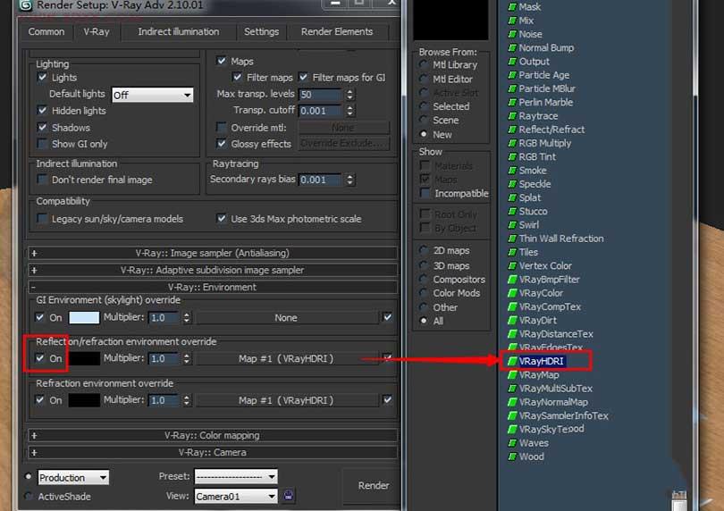 Vray中HDR环境贴图的使用方法之反射通道的VRHDR拖拽到折射通道