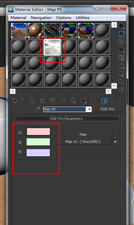 Vray中HDR环境贴图的使用方法之调节RGB参数