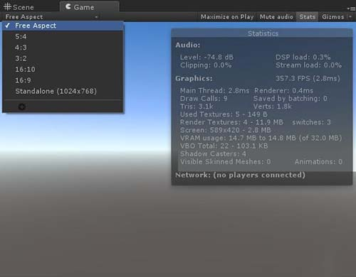 Unity动作编辑器各视图功能介绍之Game视图