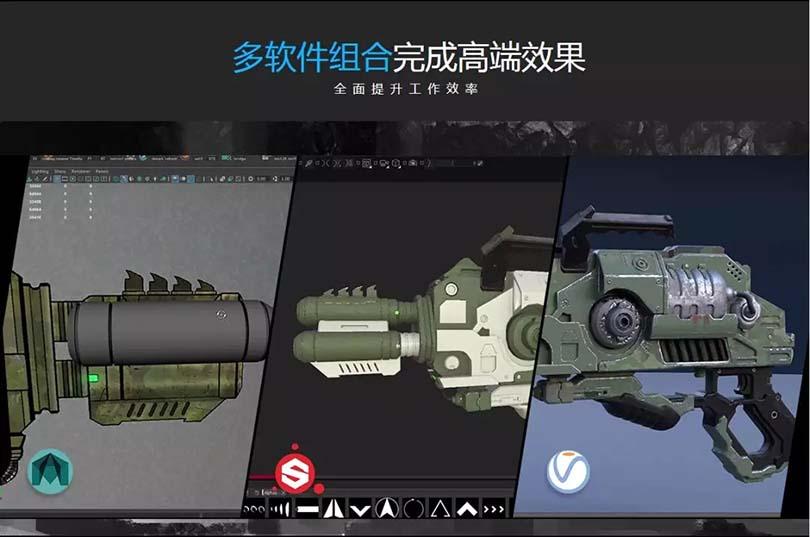 次世代游戏模型《异星战枪》创建全流程教程之软件组合
