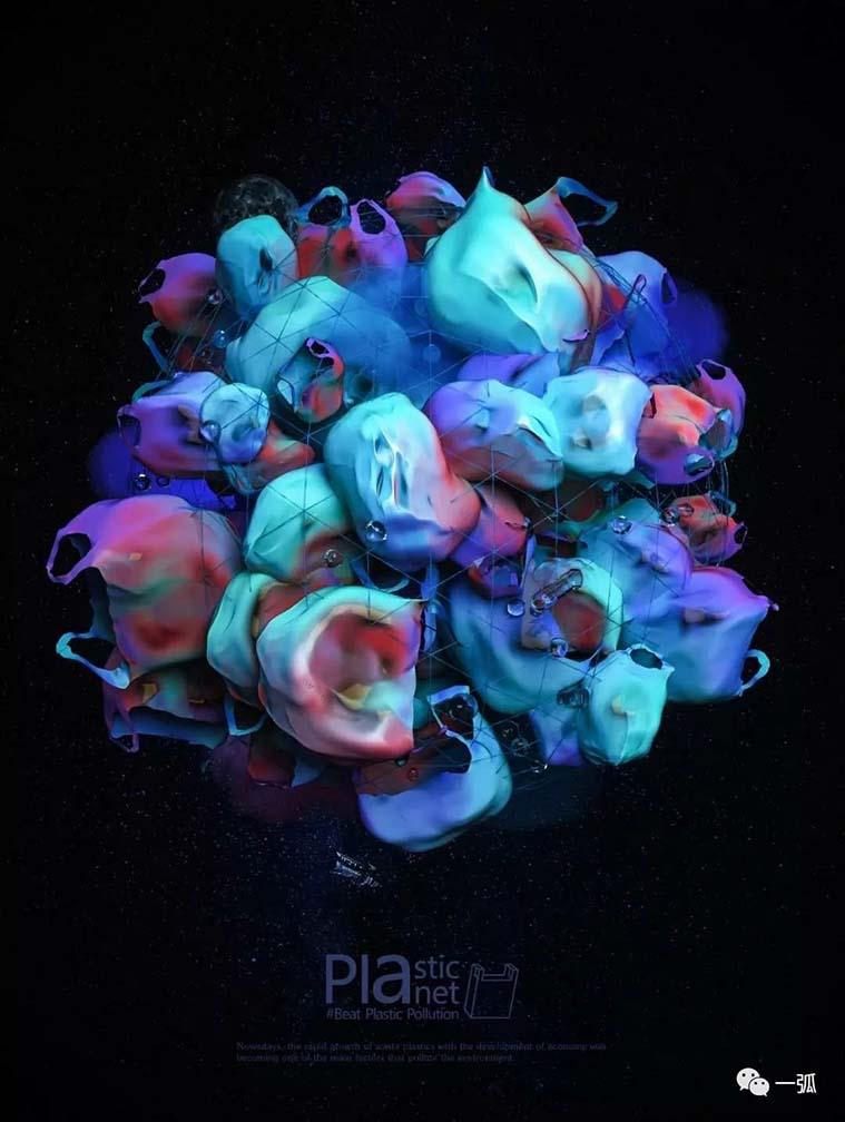 一个不点外卖的90后视觉设计师阿俊作品《塑料星球》