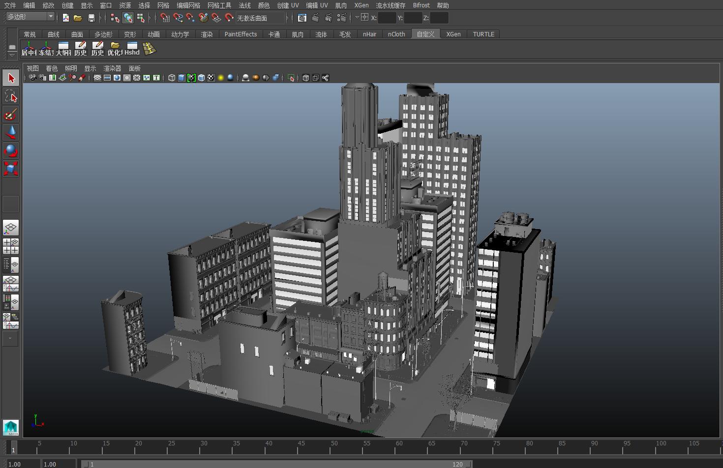 maya一个城市街道,高楼大厦,城市中心场景模型图片