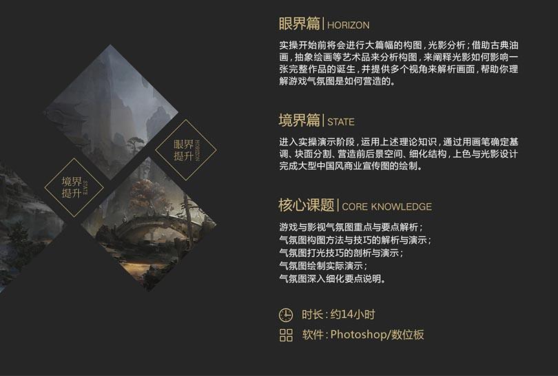 PS中国风场景概念气氛图绘制全流程案例教程介绍