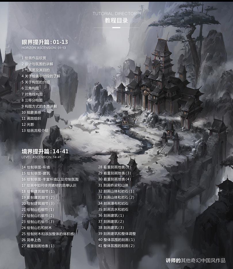 PS中国风场景概念气氛图绘制全流程案例教程目录