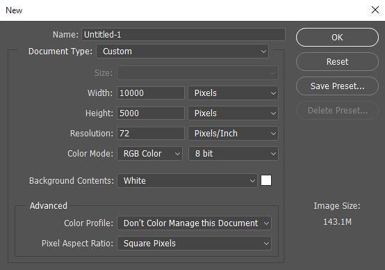 PS 360VR全景制作步骤之创建画布