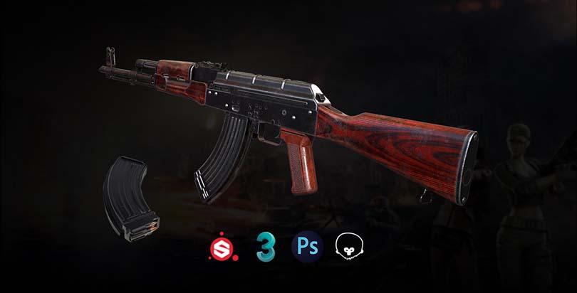 3dsMax高精度次世代游戏枪械模型之《AK47》全流程案例教程之最终输出
