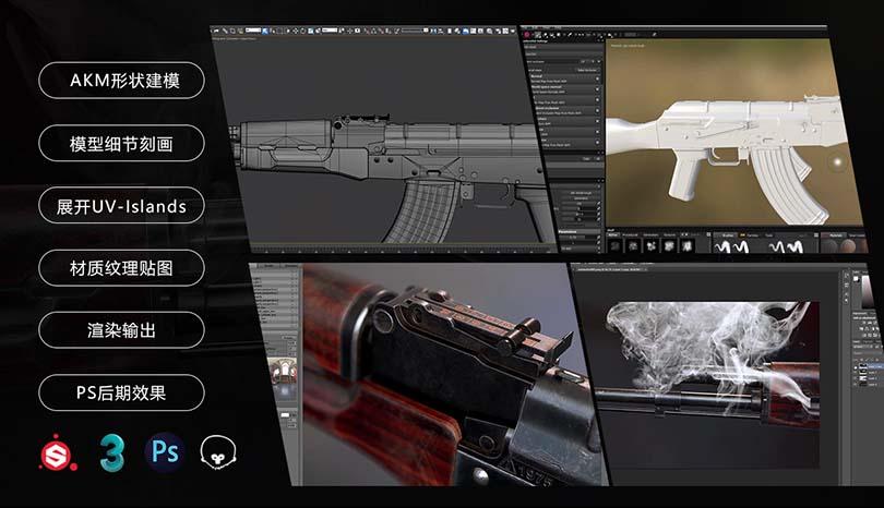 3dsMax高精度次世代游戏枪械模型之《AK47》全流程案例教程特色之完整案例