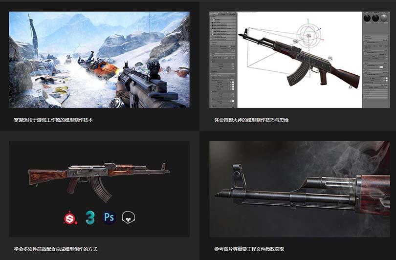 3dsMax高精度次世代游戏枪械模型之《AK47》全流程案例教程学习收获