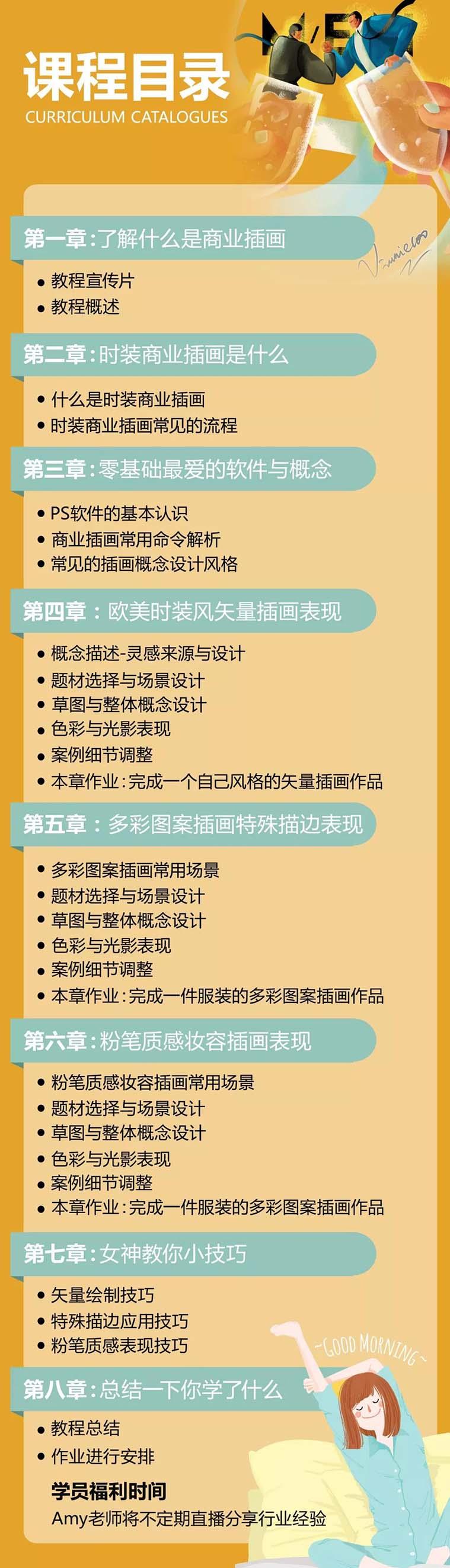 《零基础学商业时尚插画》女神Amy独家定制教学教程宣传目录